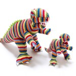 Best years t-rex knitted rattle - stripy