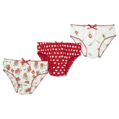 Organic cotton girls floral and spotty briefs