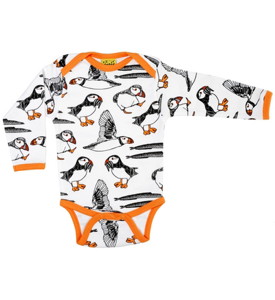 DUNS Sweden organic cotton puffins baby long sleeve vest