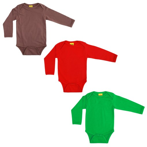 Plain red brown green organic baby vests