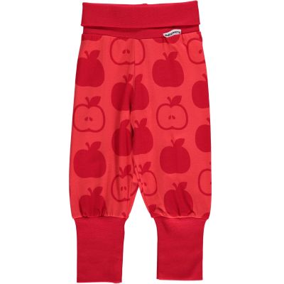Maxomorra organic cotton baby trousers mono red apple