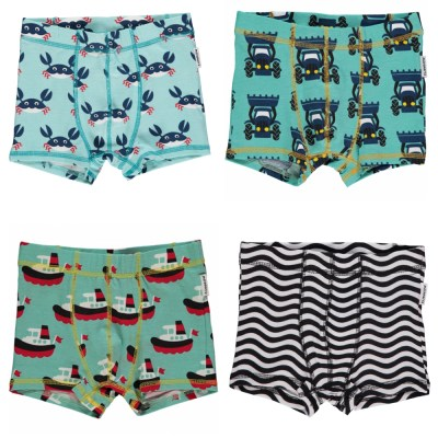 Boxer shorts waves stripes boats crabs tractor organic cotton