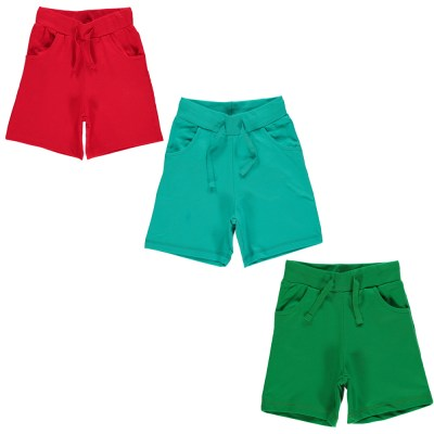 Maxomorra basics red turquoise green shorts organic cotton
