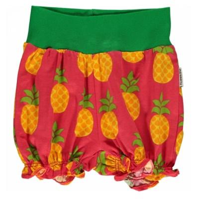 Maxomorra pineapple balloon rib shorts organic cotton