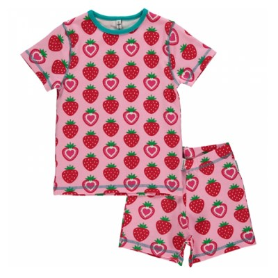 Maxomorra strawberry organic cotton summer pyjamas