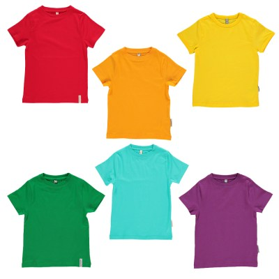 T-shirt organic cotton Turquoise Orange yellow purple red green