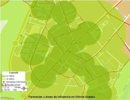 Área de influencia circular de farmacias de 100 metros y 300 metros