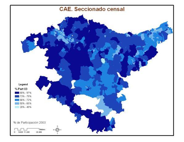 CAE. Participación por sección censal en elecciones municipales de 2003