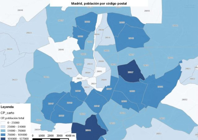 Mapa Comunidad De Madrid Por Codigos Postales.Poblacion Por Codigo Postal Como Calcularla