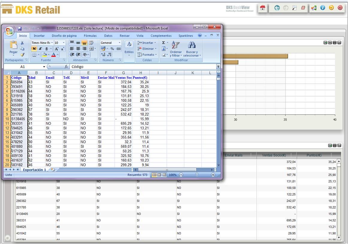 Geosmart retail, clientes selección y exportación excel