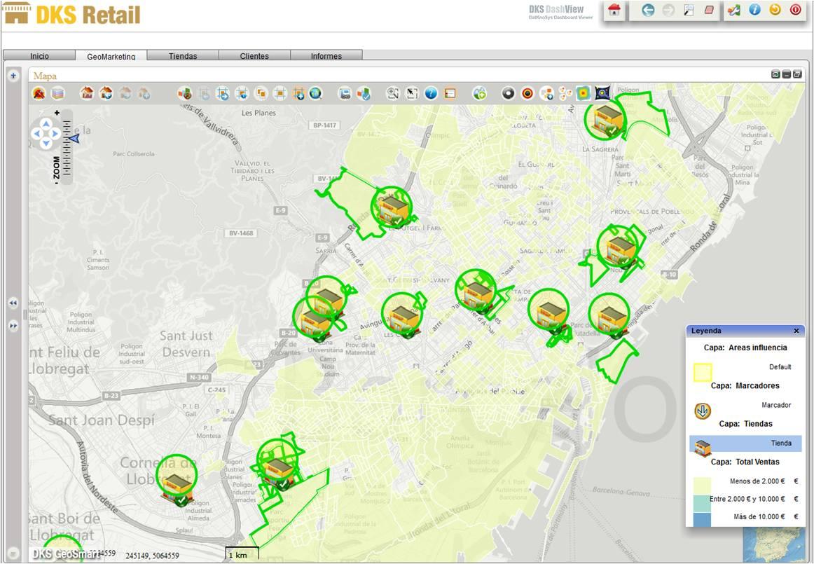 Geosmart retail, mapa de venta seleccionada y áreas de influencia