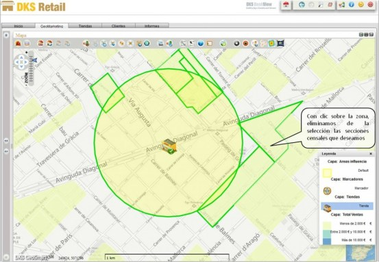 Geosmart retail, mapa de venta y área de influencia, detalle
