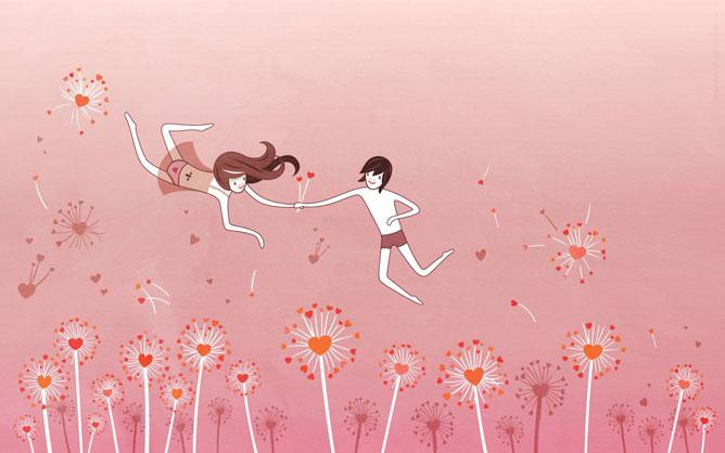 Szerelmes pár repül a szívvirágok rétje fölött.