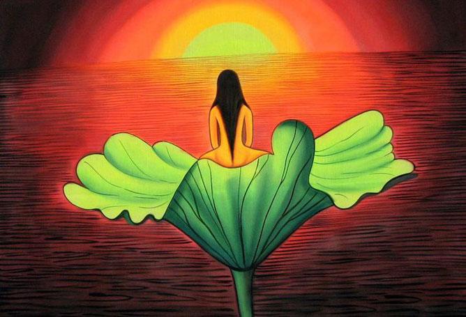 Lótuszon ülő Buddha arccal a napfelkelte irányába