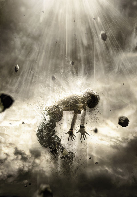 Metamorfózis; energiává szétáradó ember.