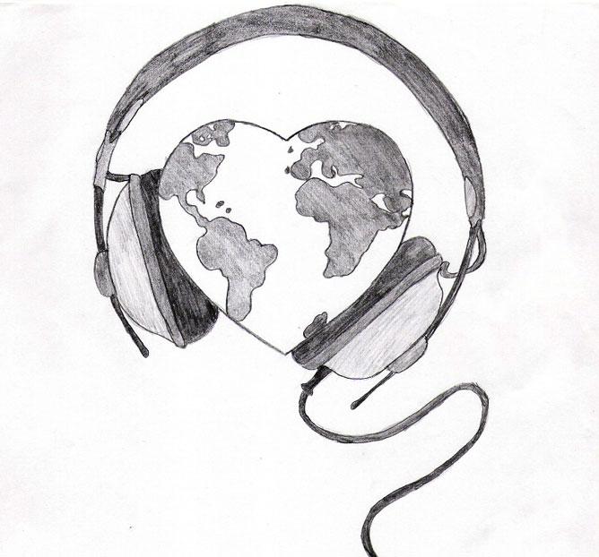 Szív alakú föld bolygó, fejhallgatóval