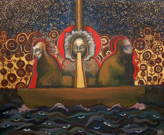 Három sámán egy csónakban; égi összeköttetés; szemek a hullámokban.