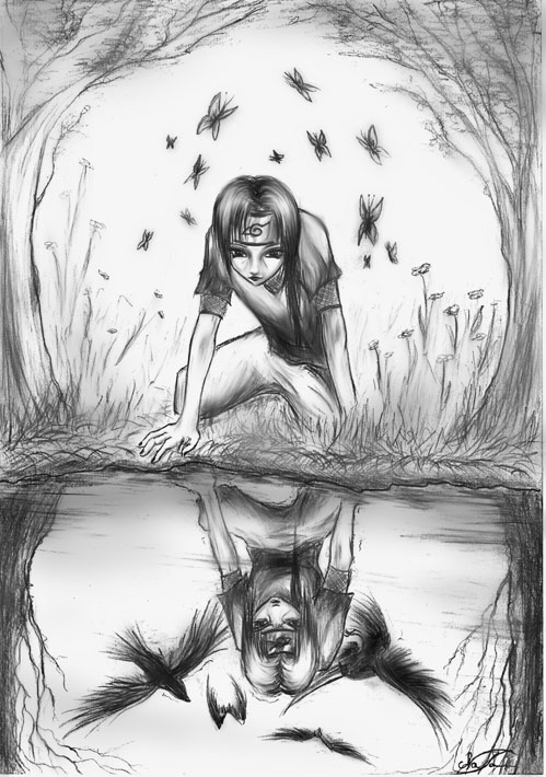 A tó tükrébe néző indián fiú pillangókkal a háttérben s varjakkal a víz tükrében.