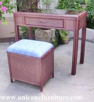 Rattan Dresser with stool