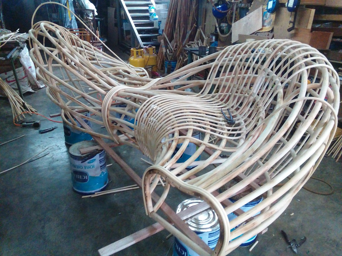 Rattan Sculpture Bench