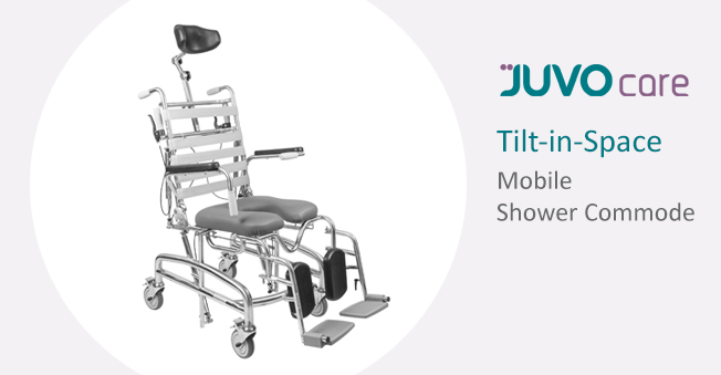 The popular JUVOcare Tilt-in-Space Mobile Shower Commode