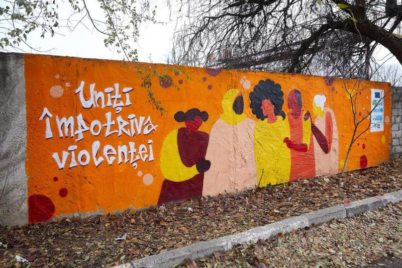 Inaugurarea picturiimurale profesionale la Gara feroviară din Ungheni, dedicată combaterii violenței în bază de gen