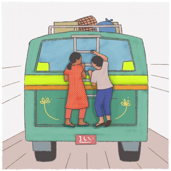 This image shows an illustration of two children riding the back of a bus