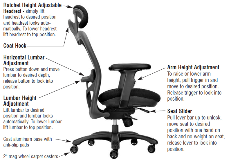 office chair adjustment levers best cheap desk unicor shopping big and tall chairs category cxo high back with chrome base