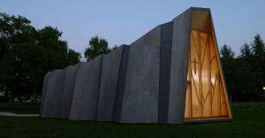 capilla temporal para las diaconisas de St-Loup - unicornia dreams - arquitectura origami - diseño