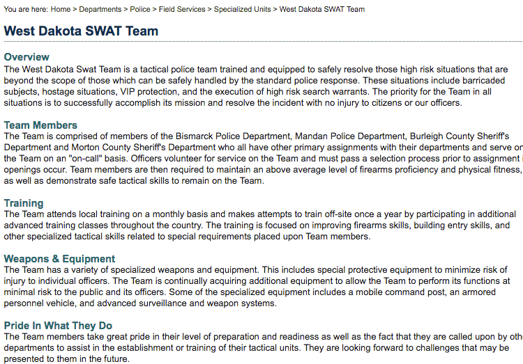 A cached version of the West Dakota SWAT page on the Bismarck city website
