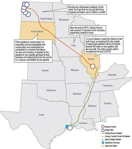 Dakota Access Pipeline Route (in Red), up to Patoka, Illinois – pic via The Bakken Magazine