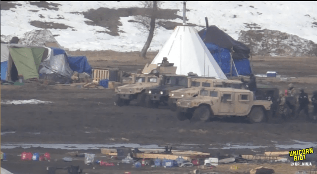 North Dakota Dismantles #NoDAPL Oceti Camp F23-invade6-hmv-battleline