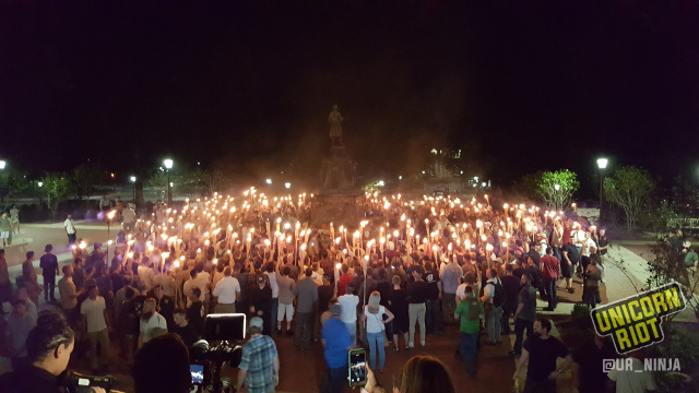 White Supremacist Mob Carrying Torches Attacks Anti-Racist Protesters in Charlottesville