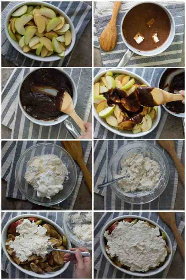 How to make apple cobbler: slice apples, make the caramel sauce and mix it with apples. Mix the topping ingredients and spread over the apples. Bake for 30 minutes.