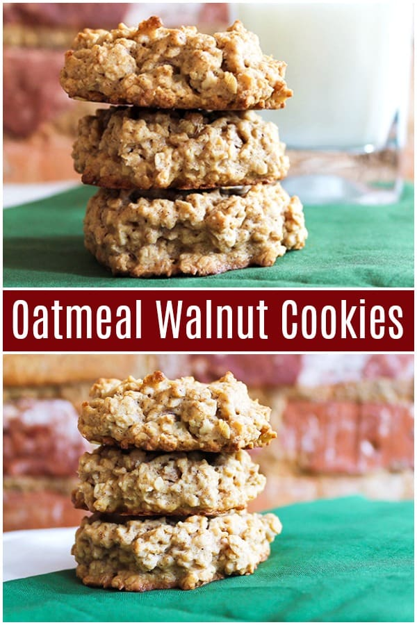 Oatmeal walnut cookies are chunky and tasty. Have these chunky oatmeal cookies with a glass of milk to taste all the happiness! #oatmealcookies #oatmealwalnutcookies #oatmealcookiesrecipe