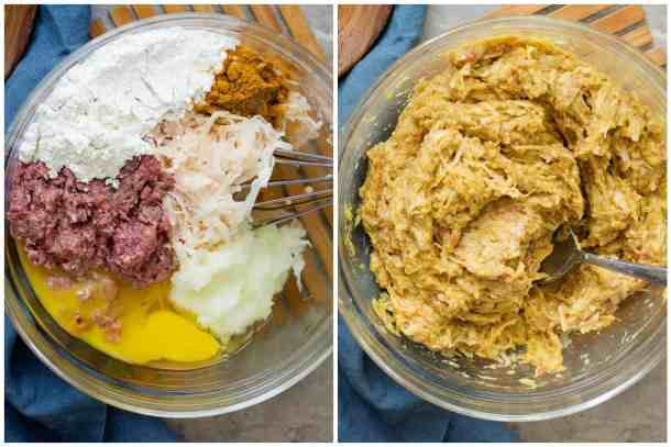 To make the mixture for kotlet, place all the ingredients in a large bowl and mix until fully combined.