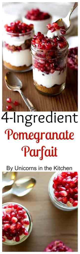 Pomegranate Parfait is a beautiful and tasty dessert that requires only 4 ingredients and comes together is no time!