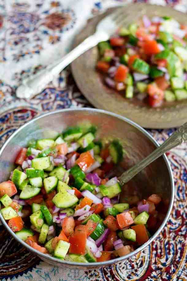 Salad Shirazi Recipe is easy to follow with only three ingredients, cucumbers, onions and tomatoes.