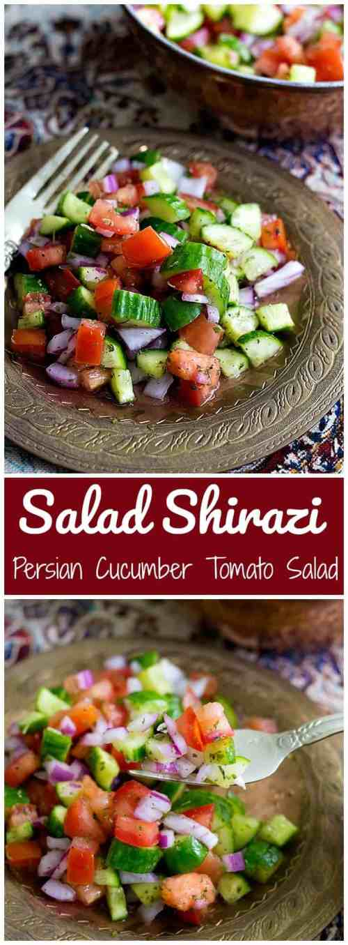 Salad Shirazi is a light and easy Persian salad that is a delicious alternative to the usual side dishes. It's refreshing, healthy and easy. | Persian Salad Shirazi Recipe | Persian Salad | Vegan Salad | Gluten Free Salad |