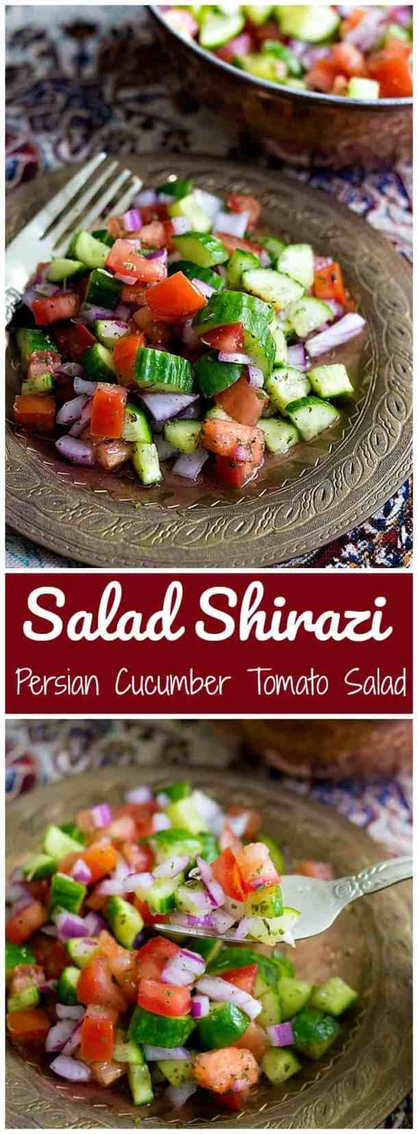 Salad Shirazi is a light and easy Persian salad that is a delicious alternative to the usual side dishes. It's refreshing, healthy and easy. Salad Shirazi | Persian Salad | Cucumber tomato salad | Vegetarian Salad | Persian Recipes | Unicornsinthekitchen.com