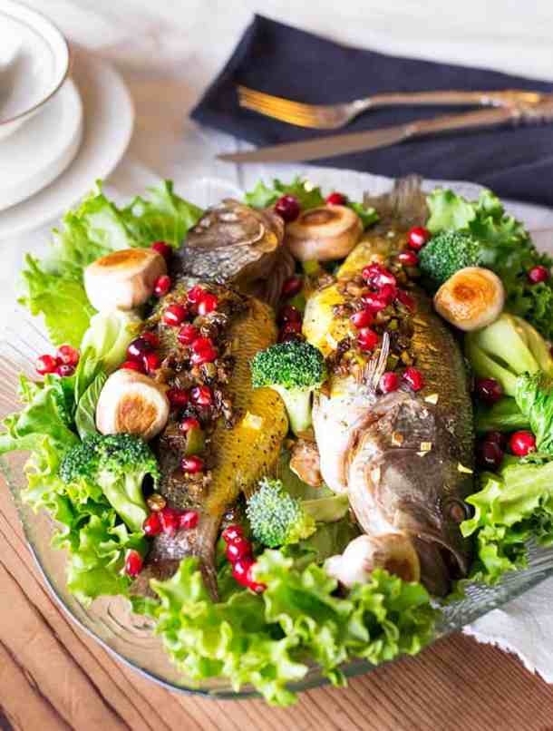 Stuffed fish made Persian style. Delicious flaky fish stuffed with a mixture of pomegranates and walnuts makes a delicious meal.