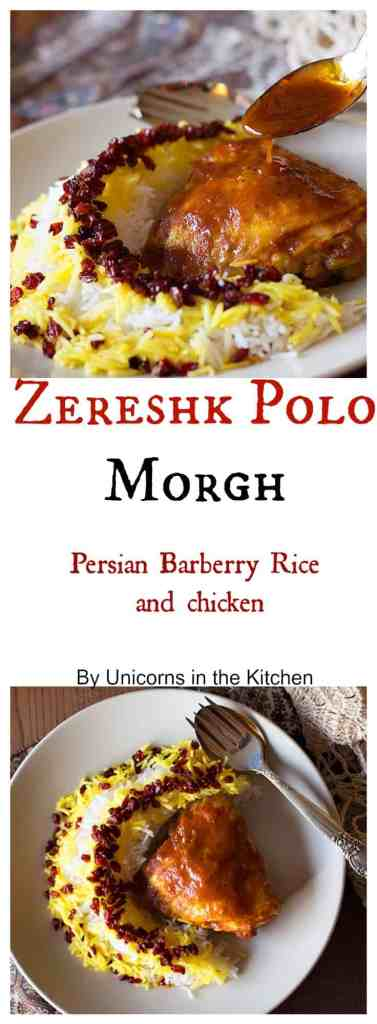 Zereshk polo morgh is a dish full of amazing flavors including saffron!