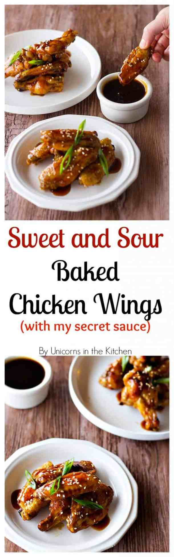 Sweet and Sour Chicken Wings Recipe | Sweet and Sour Chicken Baked | from UnicornsintheKitchen.com