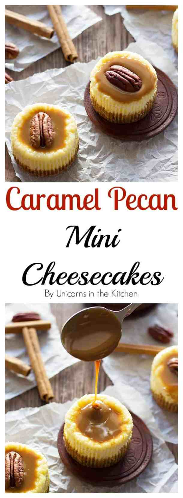Enjoy a bite of happiness with these cute Caramel Pecan Mini Cheesecakes made in a muffin pan. They're velvety, creamy and have a perfect balance of sweetness!