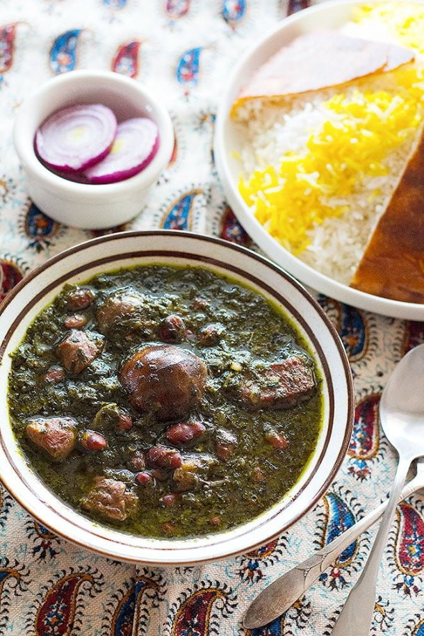 Ghormeh Sabzi or Persian herb stew is the national dish of Iran. It's made of a combination of herbs, red kidney beans and beef or lamb. It's usually served with Persian rice.