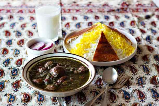 Ghormeh Sabzi - Saute herbs until they're aromatic but not burnt. Saute onion and beef, add water and cook.