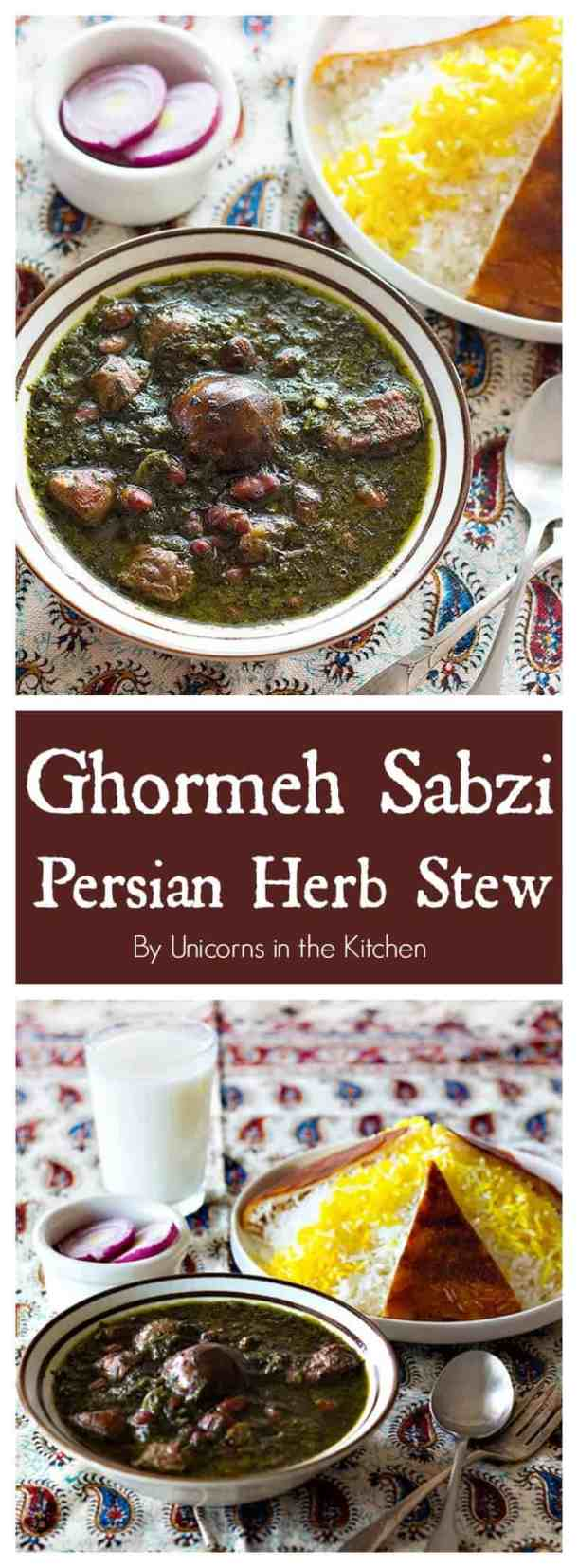Ghormeh Sabzi - Persian Herb Stew is one of the most delicious stews in Persian cuisine. A mixture of fragrant herbs and spices makes this stew very special!#persianrecipes #ghormehsabzi #herbstew #persianfoods