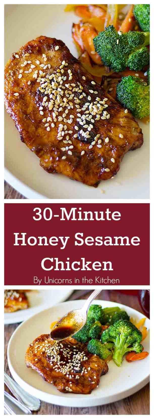 Honey Sesame Chicken | Honey Sesame Chicken Recipe | Honey Sesame Chicken healthy | Honey Sesame Chicken instant pot | Honey Sesame Chicken crock pot | www.unicornsinthekitchen.com