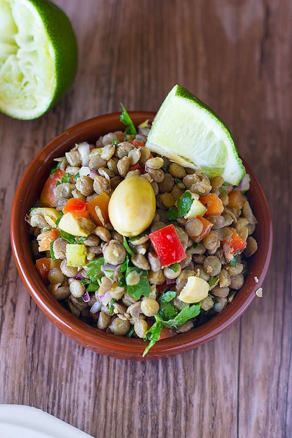This Avocado Lentil Salad has all the things that are good for you! It comes together in no time and is very filling and delicious. Make a big batch and enjoy it through the week!