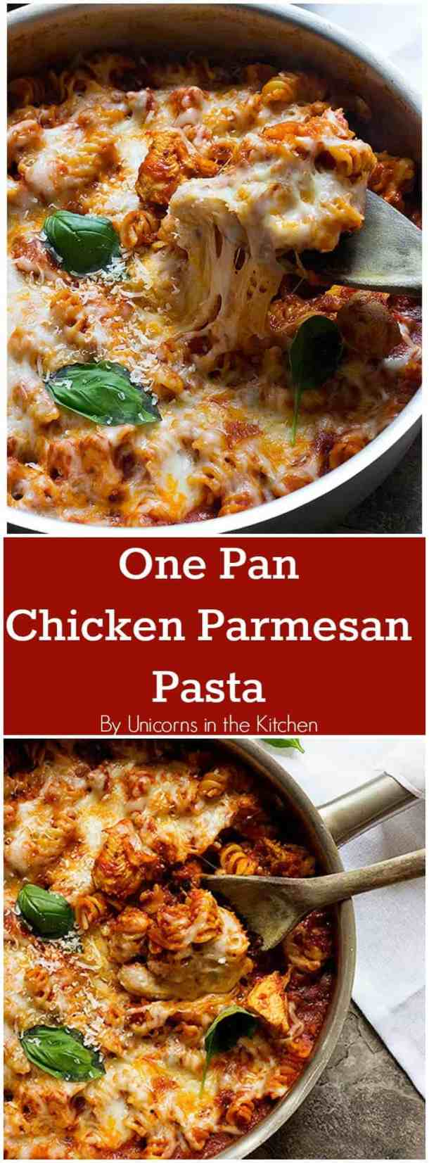 A healthier version of an all-time favorite, this One Pan Chicken Parmesan Pasta is great for weeknight dinners and is ready in less than 40 minutes!